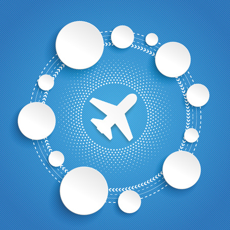 blue circles: Infographic design with plane and circles on the blue background. Eps 10 vector file. Illustration