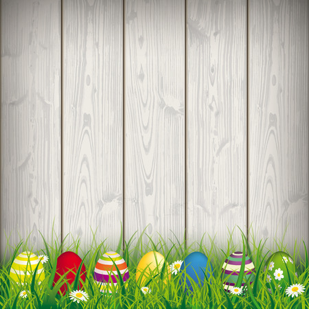 Green grass with colored easter eggs on the wooden background. Eps 10 vector file.