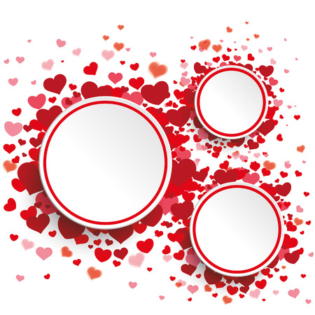 happy birthday heart shapes: White paper circles with red hearts on the white background. Eps 10 vector file.