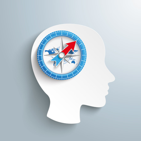 employe: Human head with compass on the gray background. Eps 10 vector file.