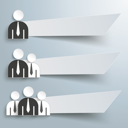cohesion: Infographic design with business people and 3 banners on the grey background. Eps 10 vector file. Illustration