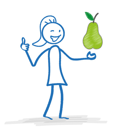 regimen: Stickwoman with pear on the white background. Eps 10 vector file. Illustration