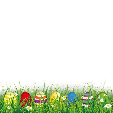 Green grass with colored easter eggs on the white background. Eps 10 vector file.