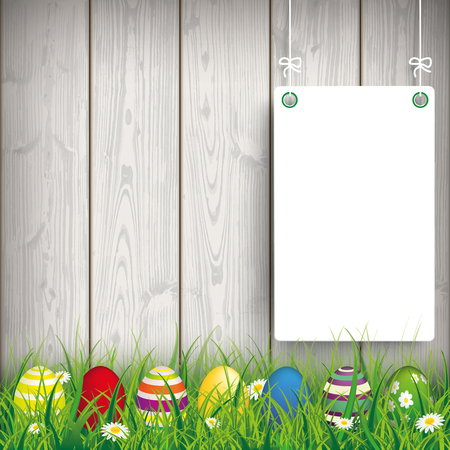 vector background: Green grass with colored easter eggs and white boards on the wooden background. Eps 10 vector file. Illustration