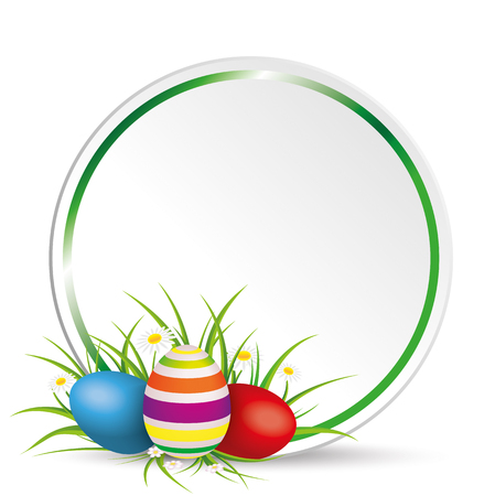 eps 10: Easter eggs with gras, circle and flowers on the grey background. Eps 10 vector file.