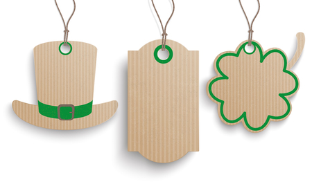 17th march: 3 cardboard hanging price stickers for St. Patricks Day on the white background.  Eps 10 vector file. Illustration