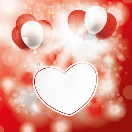 red sky: Bokeh of red sky with sunlight, heart and baloons. Eps 10 vector file.