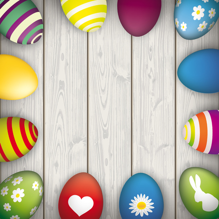 eps 10: Easter eggs on the wooden background. Eps 10 vector file. Illustration