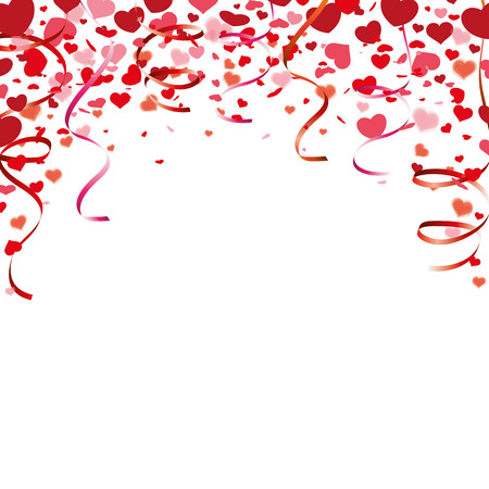 mothersday: Red hearts confetti and garlands on the white.