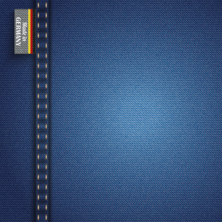 """in jeans: tela de jeans azul con etiqueta con el texto """"Made in Germany""""."""