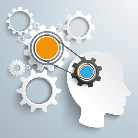 employe: Head with gears and drive chain on the gray background.