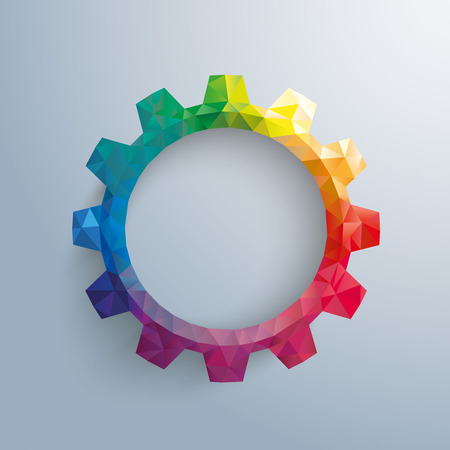gear wheel: Low poly paper gear on the gray background.