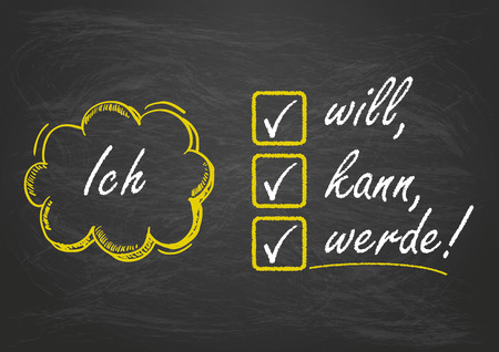 want: Blackboard with german text Ich will, kann, werde, translate I want, can,  will.