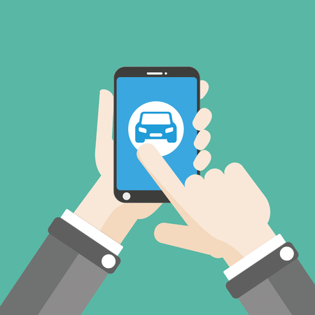 smartphone in hand: Flat design with human hand, smartphone and smart car. Eps 10 vector file.