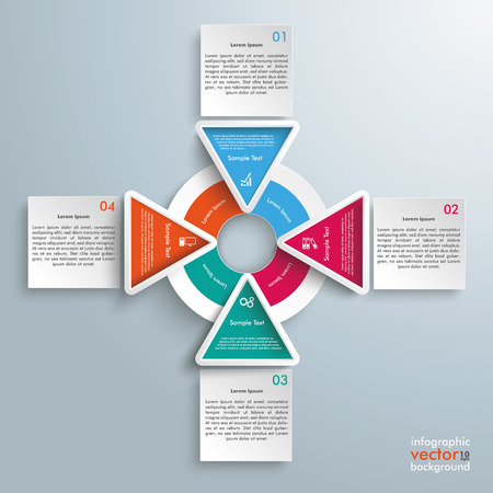 options: Infographic with circles, squares and tirangles on the gray background. Eps 10 vector file.