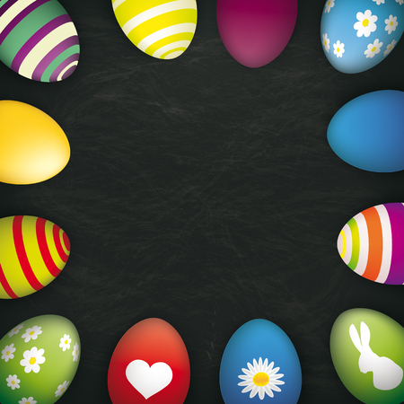 eps 10: Blackboard with colored easter eggs. Eps 10 vector file. Illustration