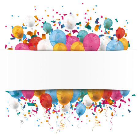 auguri di buon compleanno: carta striscione bianco, palloncini colorati e coriandoli colorati. Eps 10 file vettoriale. Vettoriali