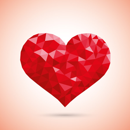 prongs: Low poly design red heart. Eps 10 vector file.