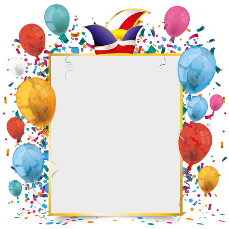 Golden frame banner with balloons and confetti on the white background. Eps 10 vector file.