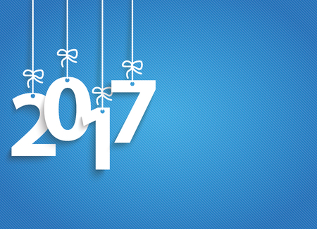 silvester: Hanging numbers 2017 on the blue striped background. Eps 10 vector file.
