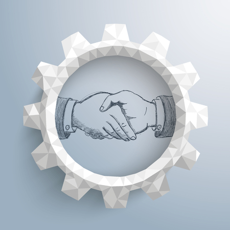 trades: Low poly paper gear with handdrawn handshake on the gray background. Eps 10 vector file.