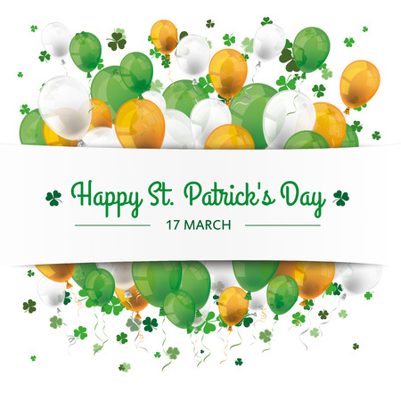 St. Patrick's Day banner with balloons and shamrocks. Eps 10 vector file.