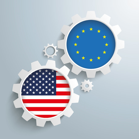 controll: White gears with US and EU flags. Eps 10 vector file.