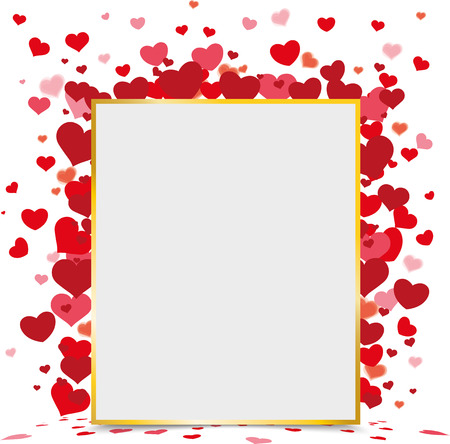 mothersday: Golden paper frame with hearts on the white background. Eps 10 vector file. Illustration