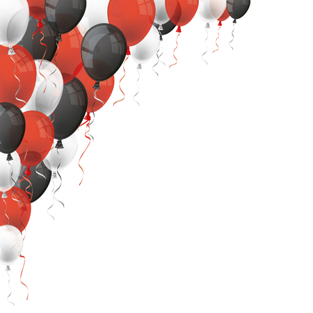 Red, white and black balloons on the white. Eps 10 vector file.