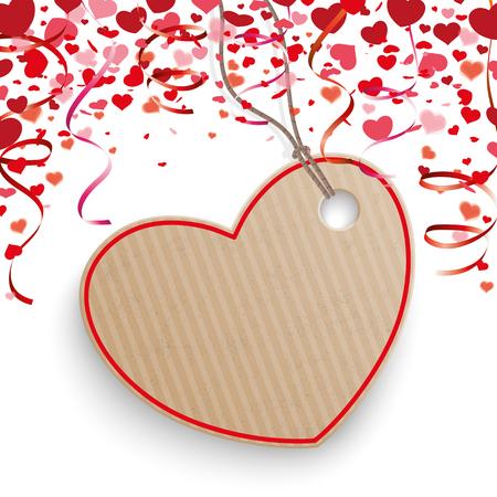 parejas enamoradas: corazones Confeti rojo, etiqueta del precio y guirnaldas en el blanco. EPS 10 del vector.
