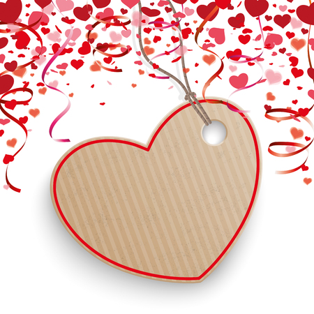 loving: Red hearts confetti, price sticker and garlands on the white. Eps 10 vector file.