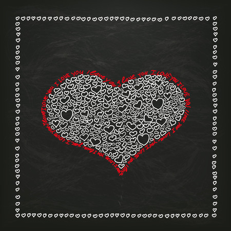happy mom: Blackboard with white hearts and text I Love You. Eps 10 vector file.