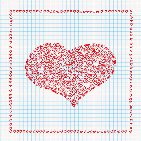 Handdrawn hearts on the checked paper. Eps 10 vector file. Ilustração
