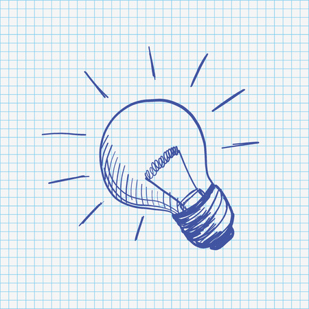 checked: Handdrawn bulb on the checked paper. Eps 10 vector file. Illustration