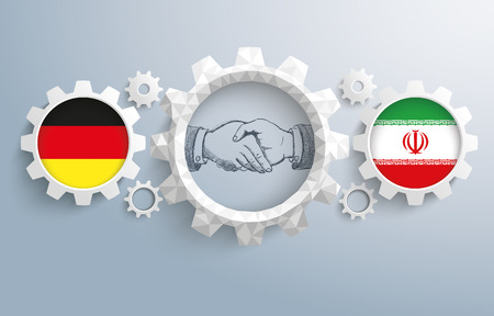 controll: German and iranian flag with handdrawn handshake on the gray background. Eps 10 vector file.