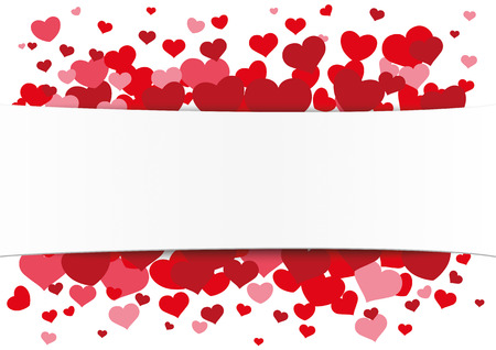 White paper banner with red hearts. Eps 10 vector file.
