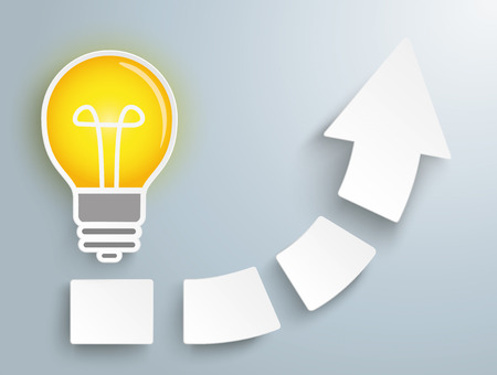 gray bulb: White arrow with four pieces and bulb on the gray background. Eps 10 vector file. Illustration