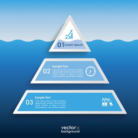 Infographic design met ijsberg piramide op de grijze achtergrond. Eps 10 vector-bestand. Stock Illustratie