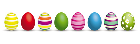 8 colored easter eggs on the white. Eps 10 vector file.