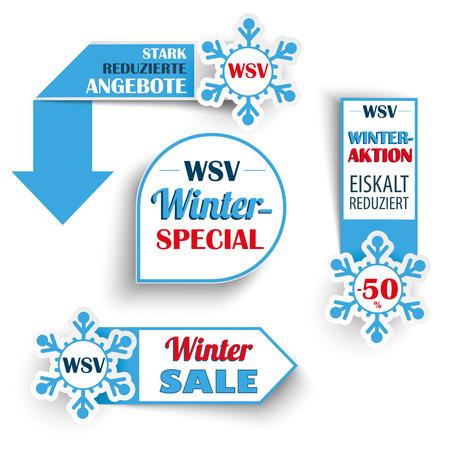 German text WSV, Stark Reduzierte Angebote, translate Winter Sale, Reduced Prices. Eps 10 vector file. Illustration