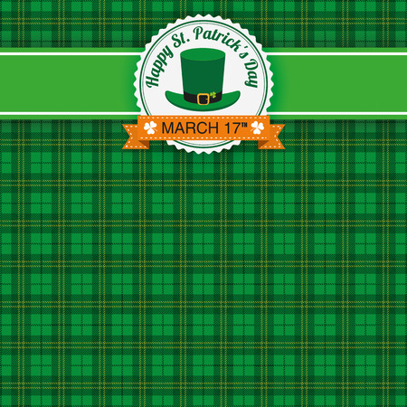 ire: Green irish tartan background for St. Patricks Day with banner and emblem. Eps 10 vector file.