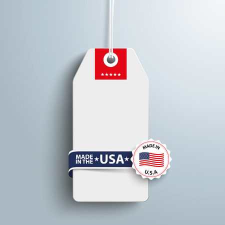 retail sales: Price sticker with label and text Made in USA. Eps 10 vector file.