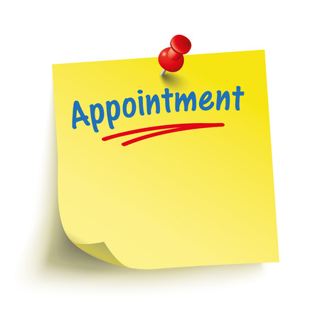 yellow tacks: Yellow stick with red pin and text Appointment. Eps 10 vector file.