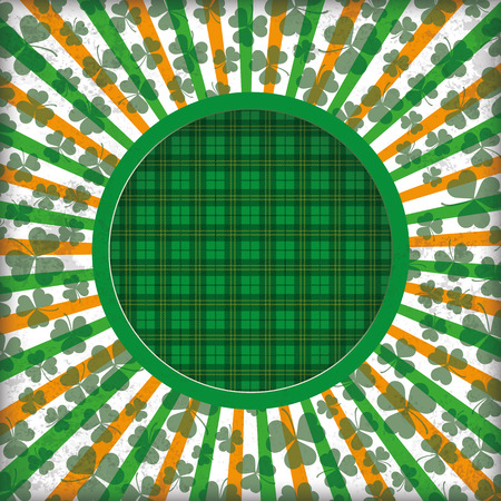17th: Tartan background with hole, stripes, shamrocks and hole. Eps 10 vector file.