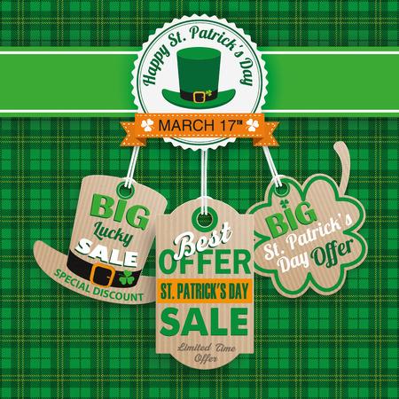 Fondo verde del tartán irlandés a la venta el día de San Patricio con etiquetas de precios cartón. EPS 10 del vector. Foto de archivo - 52906044