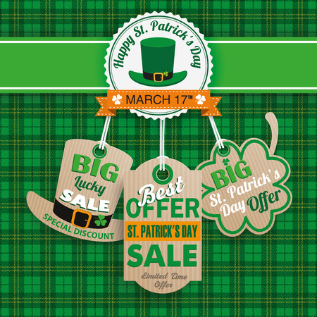 Green irish tartan background for St. Patricks Day sale with carton price stickers. Eps 10 vector file.