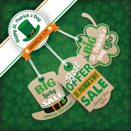 17th: Vintage cover with edge banner and price stickers for St. Patricks Day. Eps 10 vector file.