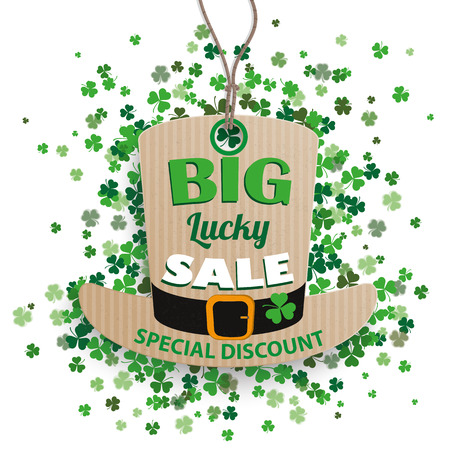 17th: Carton hat price sticker with cloverleafs for St. Patricks Day sale on the white background. Eps 10 vector file.