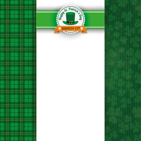 eps 10: Cloverleafs and tartan background for St. Patricks Day with banner and emblem. Eps 10 vector file.