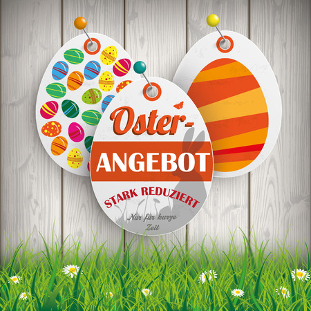 stark: German text Osterangebot, stark reduziert, Nur f�r Kurze Zeit, translate  Easter Offer, Big Sale, Limited Time Offer. Eps 10 vector file.
